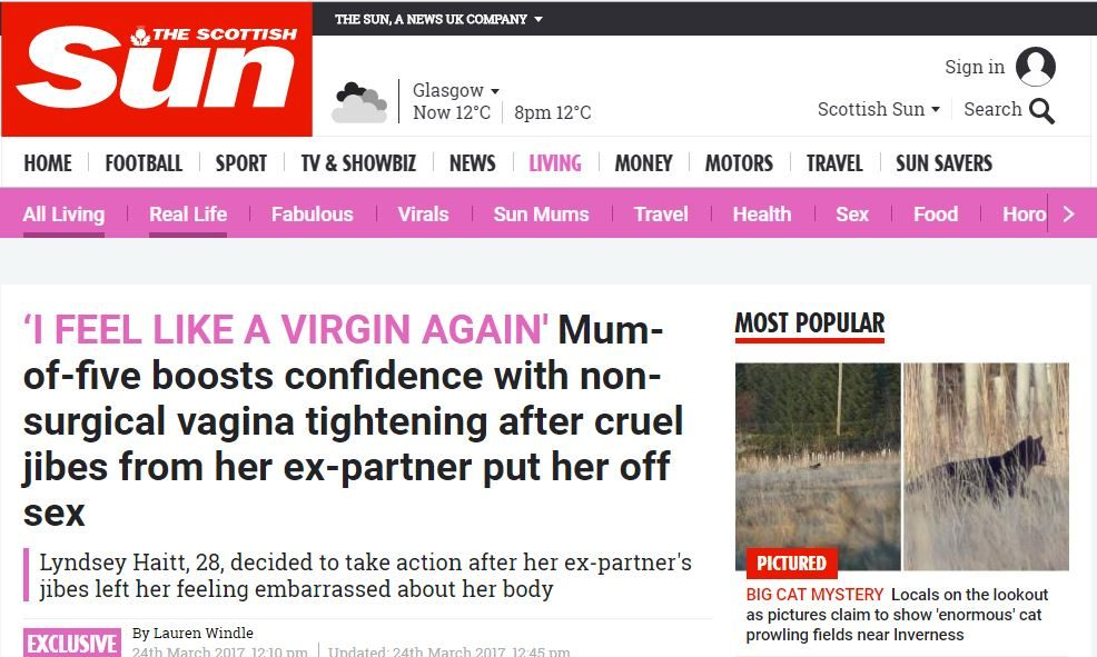 The Scottish Sun: Mum-of-five boosts confidence with non-surgical vagina tightening after cruel jibes from her ex-partner put her off sex
